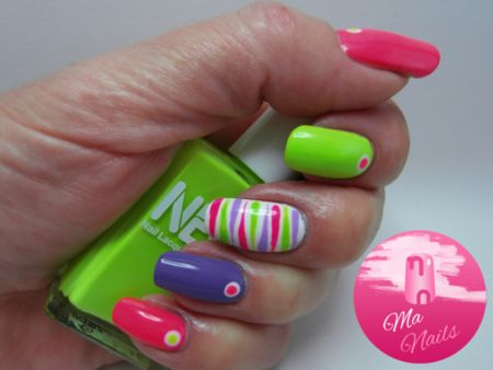 Neon Nails with Tiger Stripe Accent