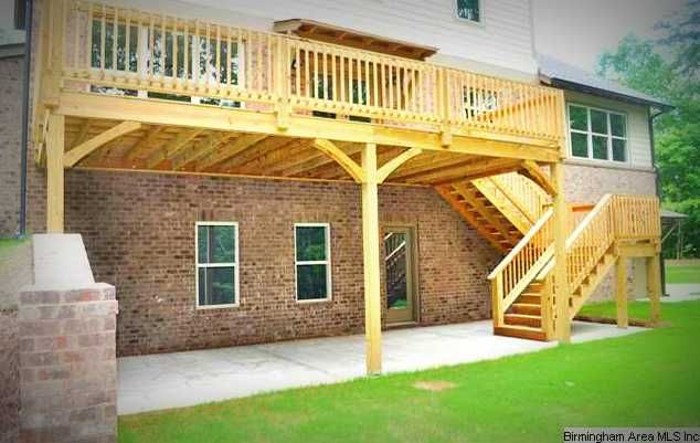 Decks the o 39 jays and stairs on pinterest Walkout basement deck designs