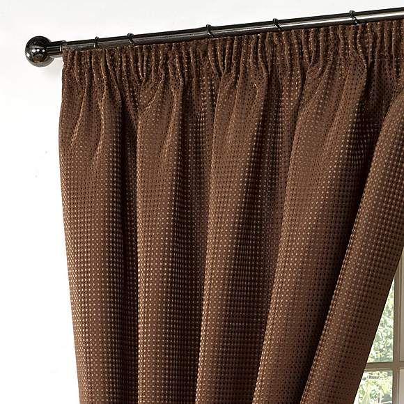 "Wenden Brown Pencil Pleat Curtains |  - £50.00 66"" x 90"""