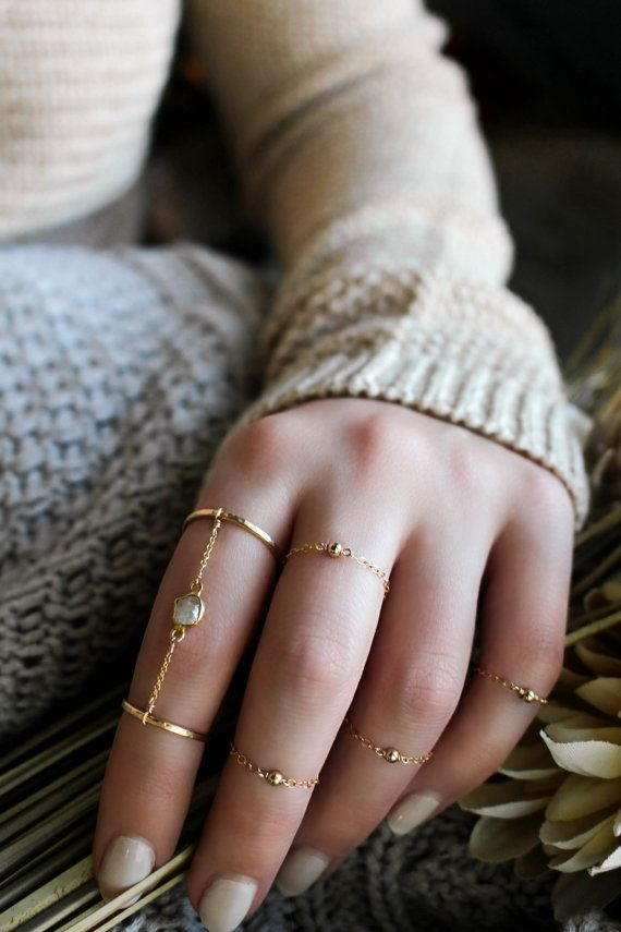 14k Gold Filled Ball Chain Ring Set Stack Rings by JewelHopes