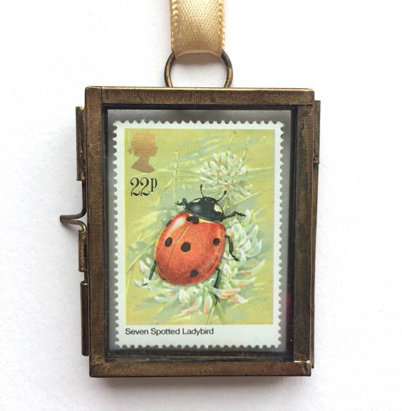 Ladybird - Lady Bird - Ladybug Gifts - Ladybug Decor - Insect Art - Nature Lover Gift - Nature Gift - Vintage Postage Stamp - Miniature Art