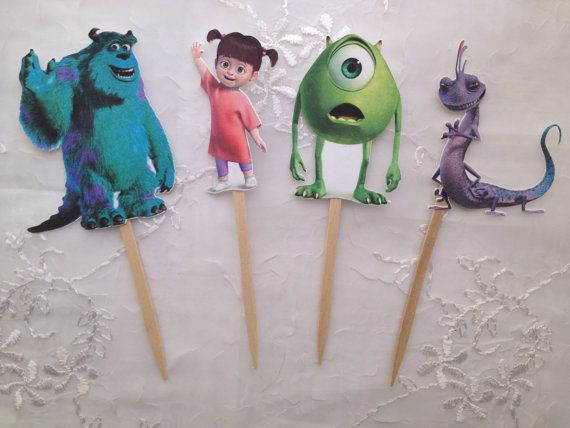 Monsters Inc Cupcake Toppers Sully Mike Wazowski Boo Randall Set of 12 on Etsy, $10.00