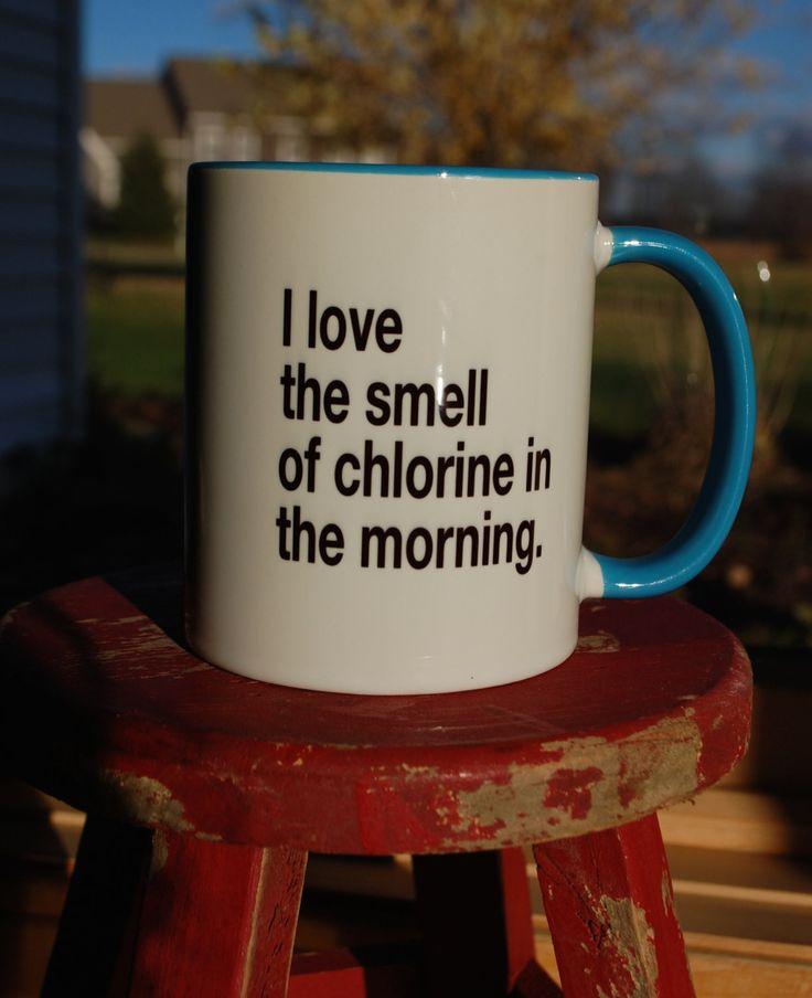I love the smell of chlorine in the morning, swim, swimmer triathlon triathlete mug coffee mug swim swimmer christmas gift, swim coach gift