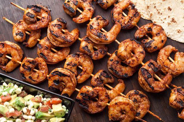 Grilled Shrimp Tacos with Avocado-Corn Salsa