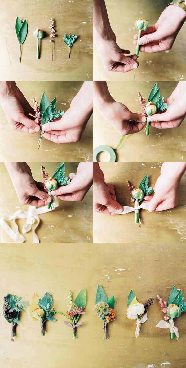 How To Wedding Boutonnieres via oncewed.com