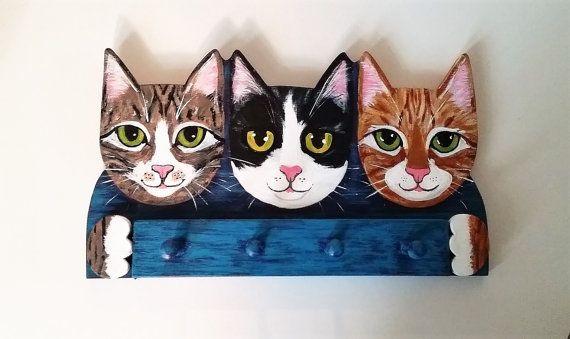Cat Key Rack Holder Functional Handmade and Hand by KittyCatStudio