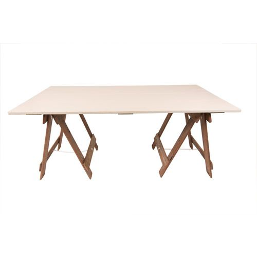 Clean lines and a smooth cream finish make this trestle table perfect for weddings and parties alike!