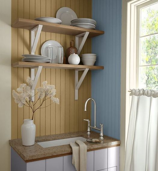 Kitchen Wall Colors:  A Picture Gallery From Major Paint Manufacturers: Kitchen Wall Colors:  A Very Cabin-Like Blue and Tan