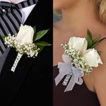 Boutonnieres & Corsages 16-pack @ Costco $119.99. Roses, baby breath, green ruscus. 8 Boutonnieres/8 Corsages