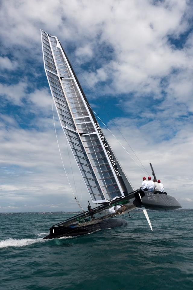 SailRaceWin: America's Cup: AC45 Wing-Sailed Catamaran Under Sail in Auckland.