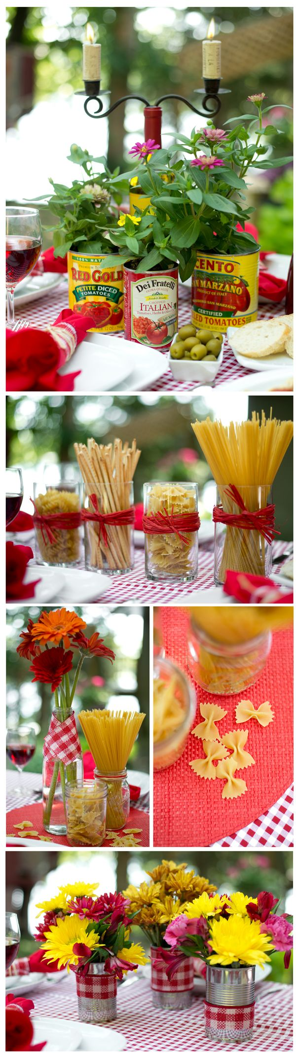 Great, simple & fun Italian theme table or buffet centerpieces. I'm doing this for my next large gang meal. P.S. At a local Italian restaurant they used very large cans to serve as pizza holders. They'd be fun to elevate platters too, like cake plates. Easy storage, just nest varied can sizes inside each other. Heading out to HG, TJs & Marshalls for colored, interesting pasta. Wonder if I can find those drippy candles to stick in empty wine bottles too?
