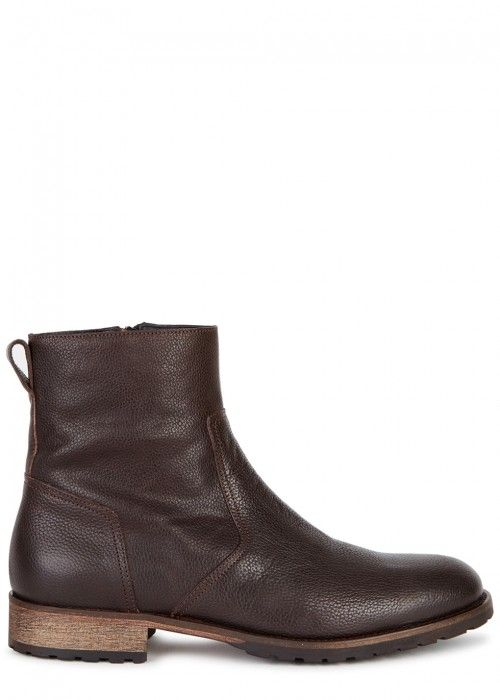 BELSTAFF ATTWELL DARK BROWN GRAINED LEATHER ANKLE BOOTS. #belstaff #shoes #