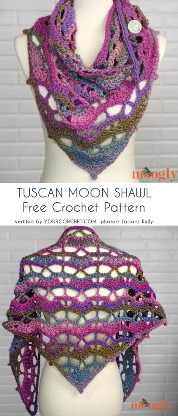 Tuscan Moon Shawl Free Crochet Pattern and Video Tutorial | Knitting ...