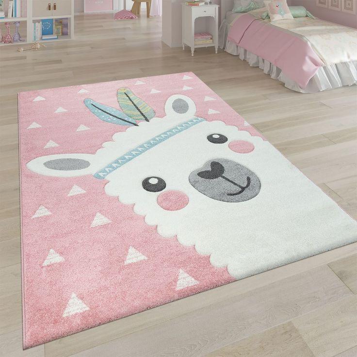Kinderteppich Kinderzimmer Teppich Bunt Hase Bär Pinguin Einhorn Grau Rosa