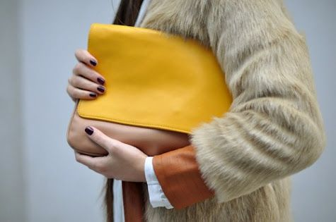 yellow bag - minus the fur, but this looks lovely as composition,
