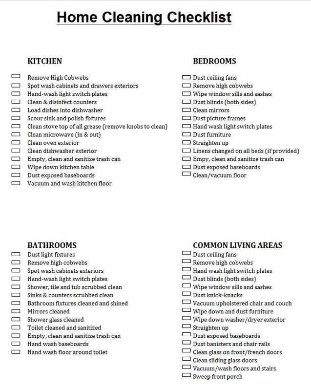 housekeeping chore list - Boatjeremyeaton - housekeeper cleaning checklist