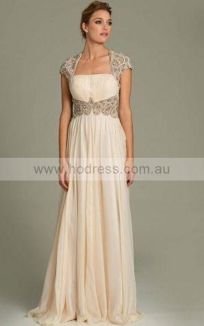 A-line Strapless Empire Cap Sleeves Floor-length Evening Dresses zgh026
