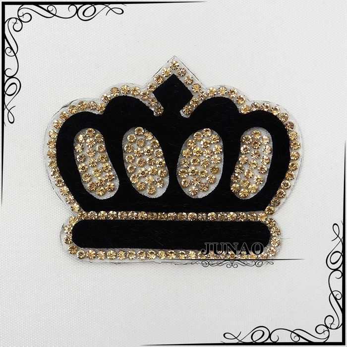 Gold Crown Hot Fix Motifs Iron On Rhinestones Beads Patches Crystal Strass Applique For Clothes Hat Shoe 10pc