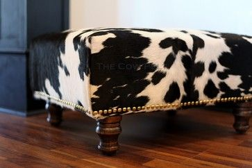 Cowhide Ottoman with Hand Applied Upholstery Tacks eclectic ottomans and cubes