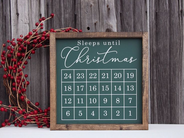 Sleeps until Christmas sign, Christmas countdown sign, Christmas countdown chalkboard, Christmas wood sign, Holiday Sign, Christmas decor by JamesandAlice on Etsy https://www.etsy.com/listing/465263707/sleeps-until-christmas-sign-christmas