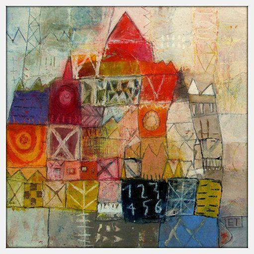 Elke Trittel acrylics;collage on board 30/30cm