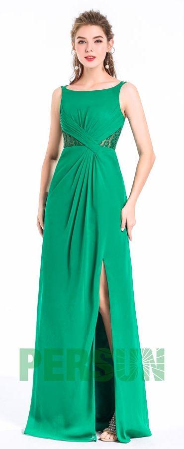 90,68 €  Robe de soirée fendue verte longue avec empiècement de dentelle