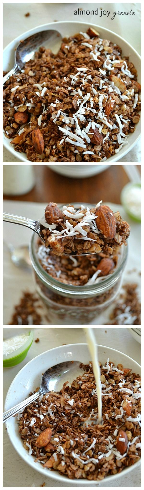 of almonds, coconut, and chocolate; this almond joy-themed granola ...
