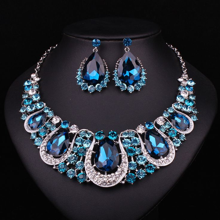 Cheap Moda indiana gioielli zaffiro collana di cristallo orecchini set di gioielli da sposa per le spose partito accessori da sposa decorazione, Compro Qualità Set di gioielli direttamente da fornitori della Cina:                                                            &