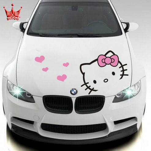 panda hello kitty car decaL | Car styling Hello kitty car sticker car hood stickers and decals for ...