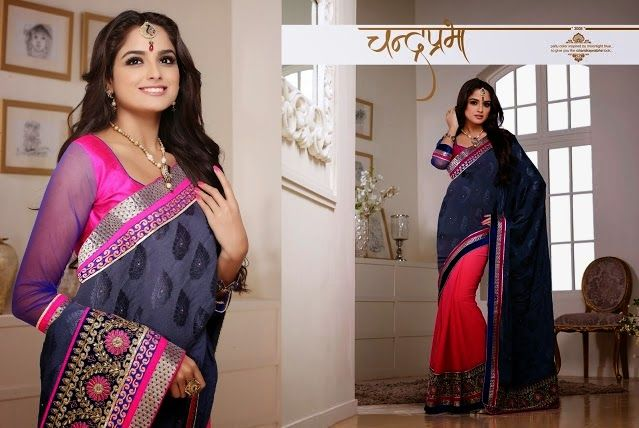 Superb Designer Party wear Navy Blue and Pink Chiffon Saree with Jacquard Pallu and Contrast matching Jute Netted Blouse. Heavy work en-crafted all over.
