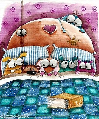 Original Watercolor Painting Art Illustration Mouse Teddy Monster Bed Story Book | eBay