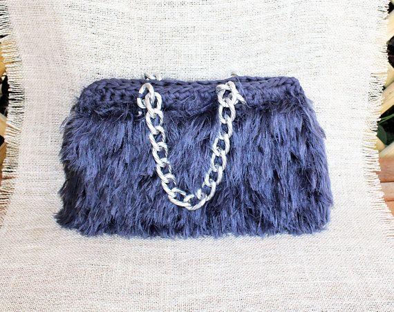 Wife statement gift Shaggy purse Fur like purse Gray luxury