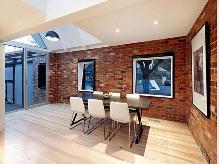 Interior Modern Industrial House Design In Dining Room With Brick Wall And Laminating Wooden Floor Plus Windows Featuring Shade Ceiling Lamp Glass Door
