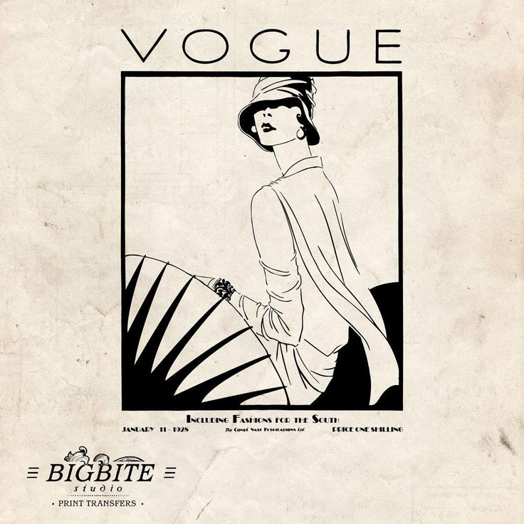 Water Decal Print transfer to furniture, wood or paper – Vintage Art Deco Water Decal –  Vintage Vogue Cover #054 by BigBiteStudio on Etsy