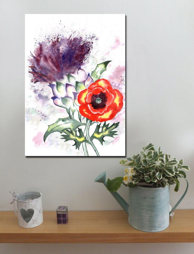 SCOTTISH THISTLE AND POPPY http://www.splashyartystory.com/shop/art-prints/thistle-and-poppy-art-print-of-painting/