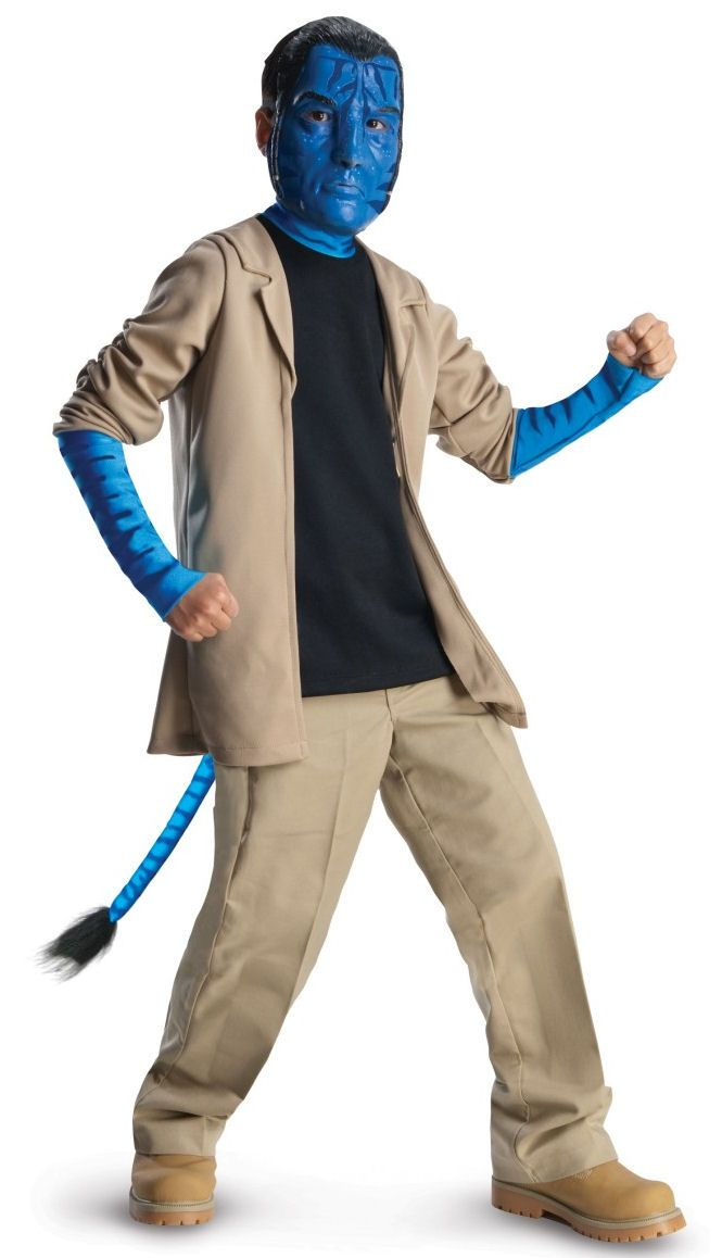 Jake Sully Children's Deluxe Avatar Costume - This is an officially licensed Jake Sully costume from the Avatar movie. The costume includes a one piece black stretch knit shirt with an attached tan colored jacket that features gathered sleeves to create a rolled up sleeve look with attached electric blue/ tiger like striped lower sleeves and a matching blue collar to create an Avatar skin look. #avatar #jakesully #jake #movie #kids #children #costume #yyc #calgary