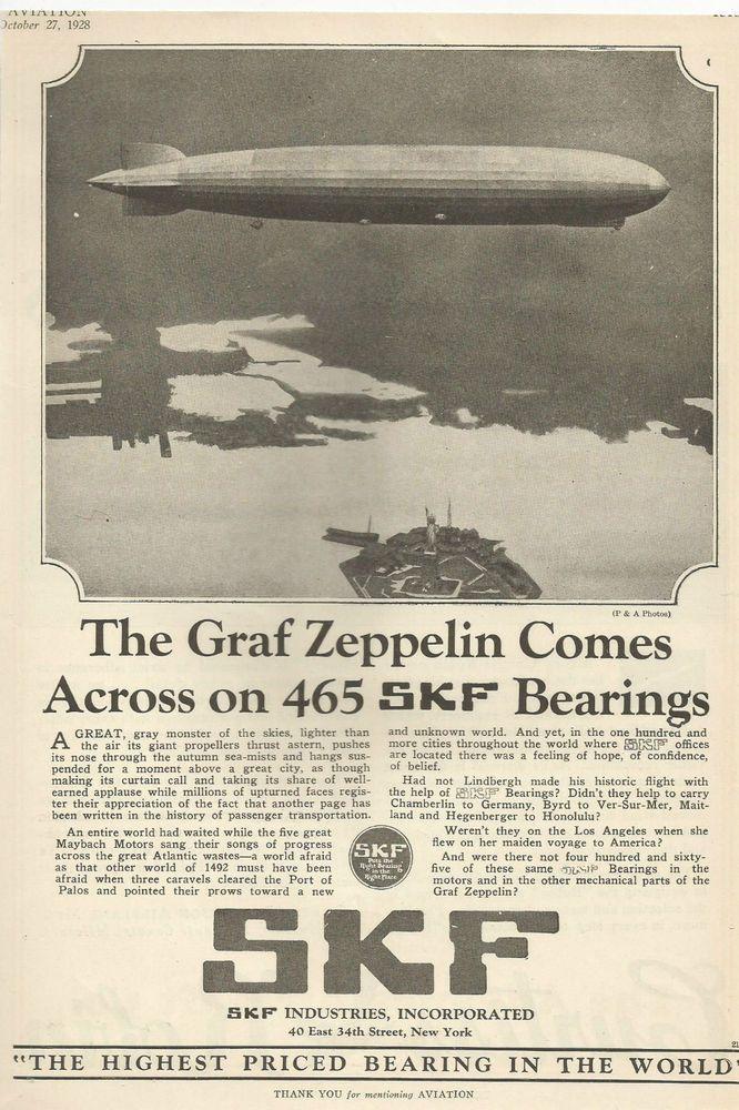 AIRPLANE ADVERTISEMENT GRAF ZEPPELIN SKF BEARINGS 1928