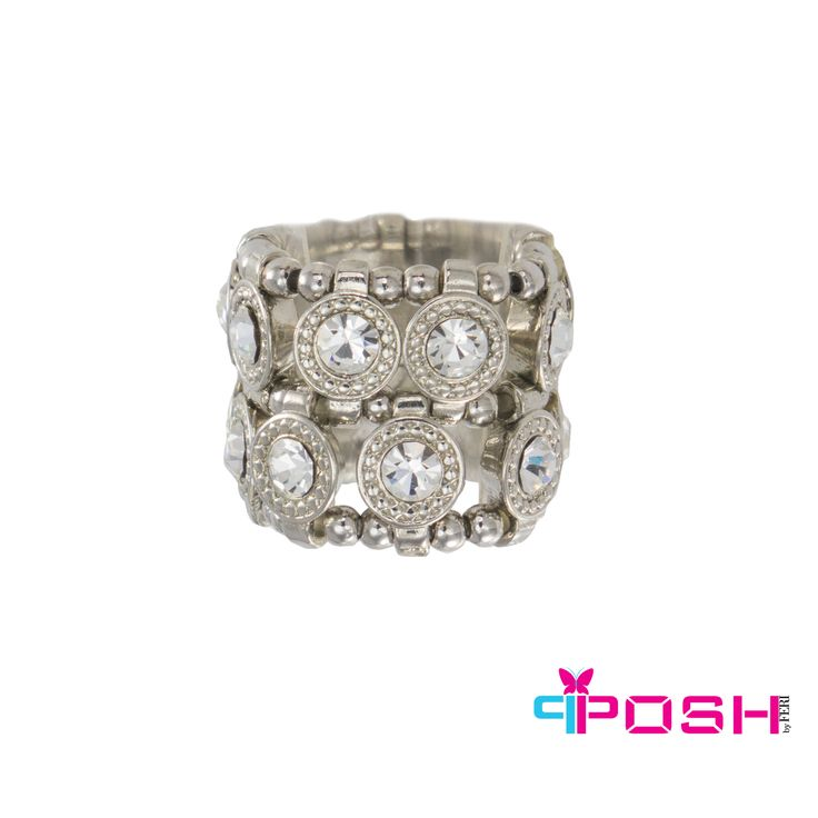 """- Stretch ring - Siver tone metal - Double row of white crystals - Dimension: 0.79"""" width - Stretch ring will fit most sizes"""