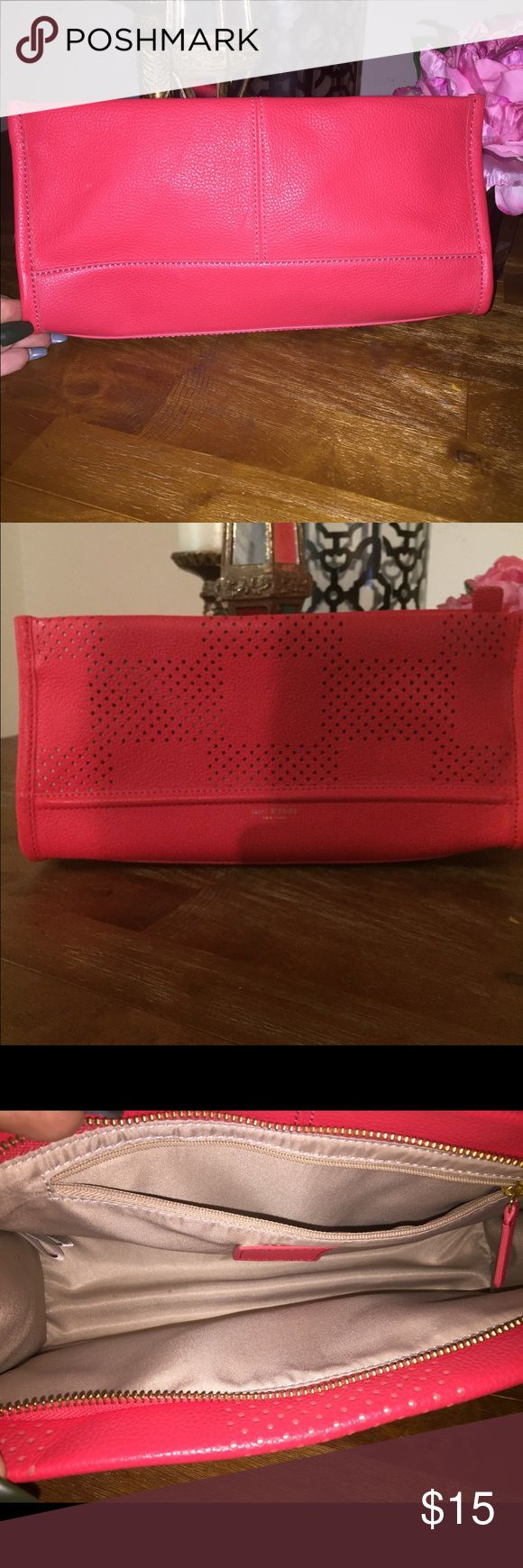 Cute Orange reddish 👛 clutch perfect for fall 🍂 Reddish Orange clutch can go good with most fall looks !  Never used Isaac Mizrahi Bags Clutches & Wristlets