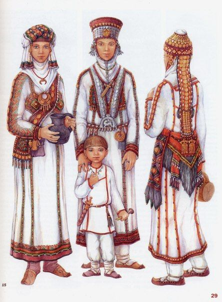 Traditional dresses of Chuvash people.