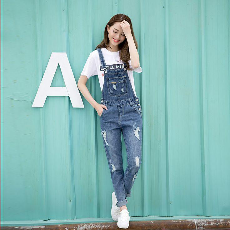 Spring Fashion Ripped Jeans Monos Muchachas de Las Señoras de largo Pantalones Casuales Las Mujeres de Los Mamelucos peto Tirantes