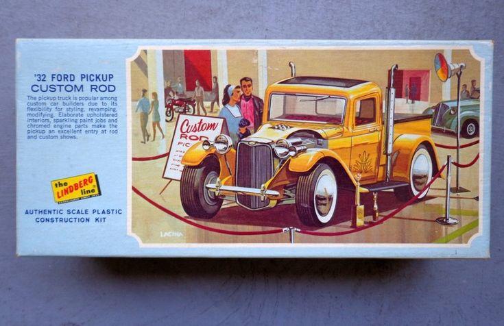 Vintage Original Lindberg Model Kit 32 Ford Pickup Truck Custom Hot Rod Lindberg Hotrod