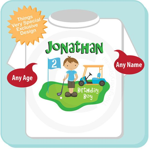 This cute Second Birthday Golf Theme tee shirt with cute birthday Golfer can be personalized with your childs name and age.