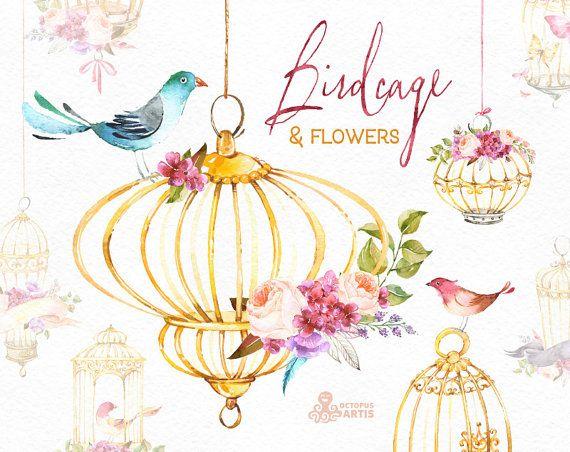 Cage à oiseaux et fleurs. Clipart fleurs aquarelle, oiseaux, roses, Hortensia, salutations, cage, bricolage, violet, or, fleurs, Saint Valentin, mariage