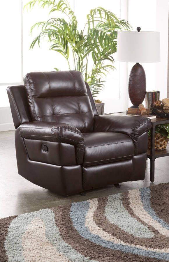 Sussex Chocolate Fabric PU Hardwood Plywood Frame Glider Recliner