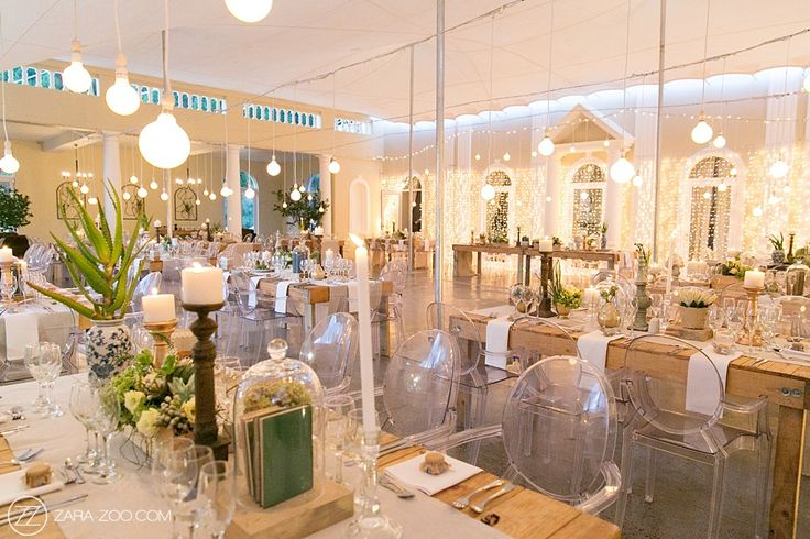 Rustic wedding reception table decor. Raw wood tables, ghost chairs, succulents and rose gold finishes. Naked bulbs and fairy lights giving it a romantic feel. #CascadeManor #ZaraZoo