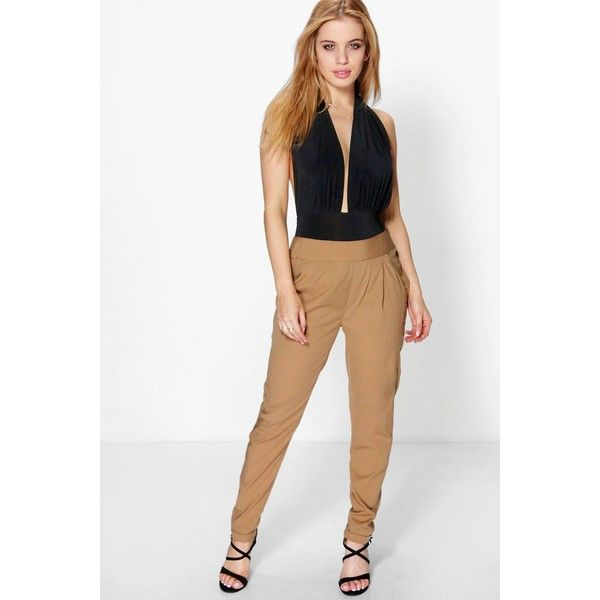 Boohoo Petite Petite Mia Woven Tailored Cigarette Trouser ($26) ❤ liked on Polyvore featuring pants, camel, basic t shirt, white pants, white palazzo pants, palazzo pants and white wide leg trousers