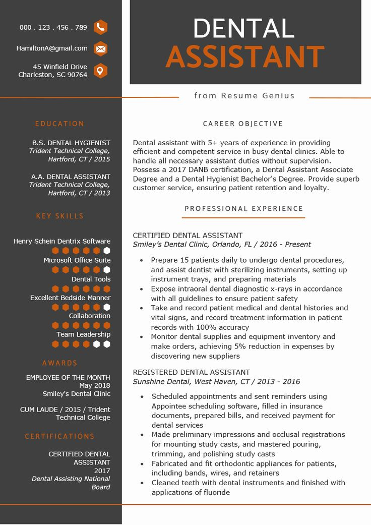 23 Dental assistant Resume Examples in 2020 Dental
