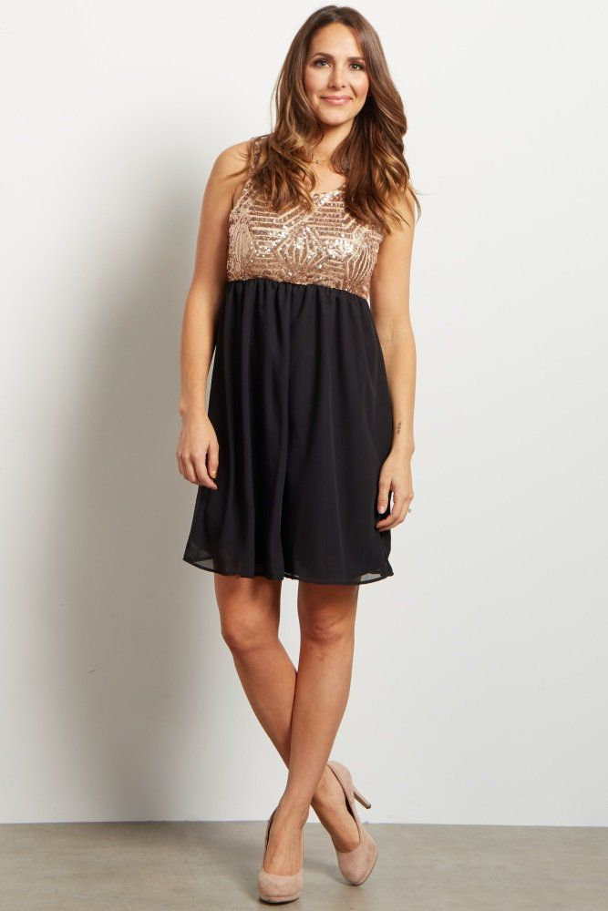 3ae17fe6005 Black Gold Sequin Embellished Chiffon Maternity Dress