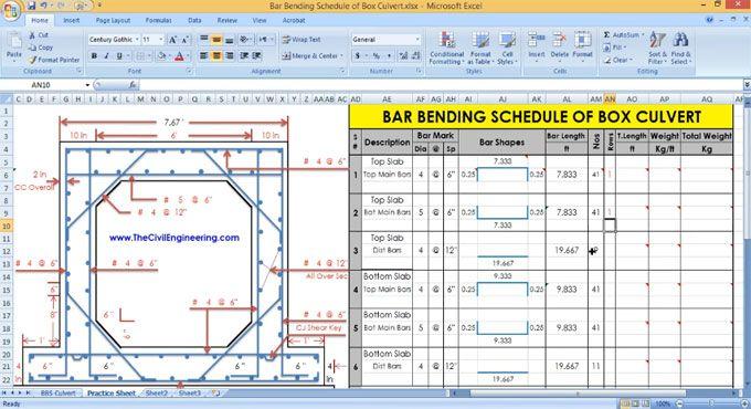RCC Box Culvert Bar Bending Schedule